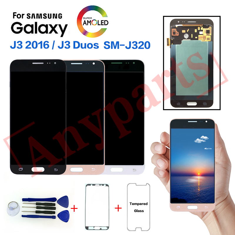 AMOLED For <font><b>Samsung</b></font> J3 2016 <font><b>SM</b></font>-J320F Display <font><b>lcd</b></font> Screen replacement for <font><b>Samsung</b></font> <font><b>SM</b></font>-J320G J320M <font><b>J320FN</b></font> Display <font><b>lcd</b></font> Screen module image