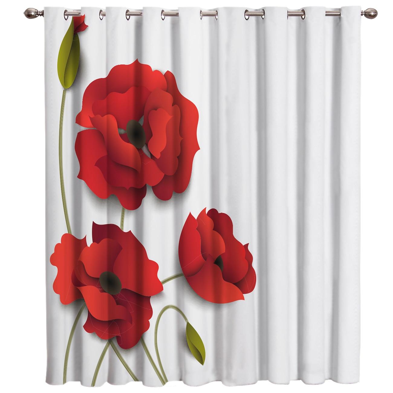 Red Poppy Flower Window Curtains Dark