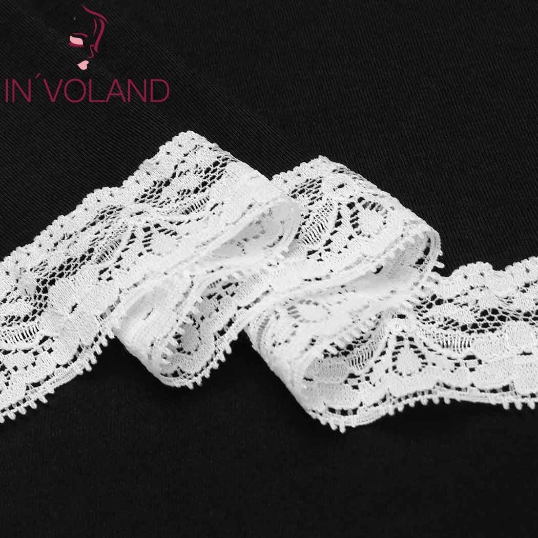 IN'VOLAND Big Size XL-4XL Women's Basic Nightdress V-Neck Short Sleeve Lace Trim Large Nightgown Sleepwear Dress Plus Size 4