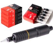 hot deal buy hybrid tattoo pen rotary tattoo machine kit dc5.5 jack 50pcs silicone needle cartridges  tattoo body&art em108b50