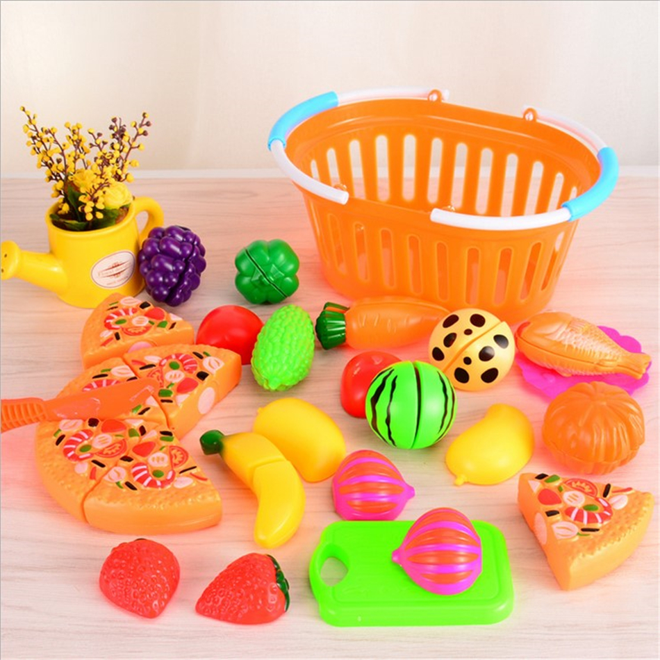 24Pcs Set Plastic Fruit Vegetables Cutting Toy Early Development and Child Play House Sets Toy for kids Kitchen toy Plastic food in Kitchen Toys from Toys Hobbies