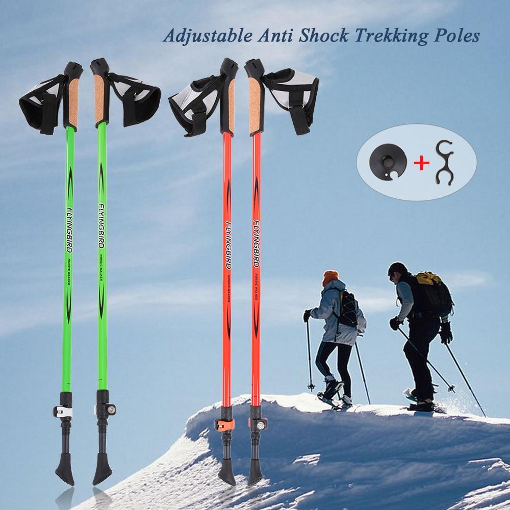 FLYINGBIRD 1 Pair Adjustable Anti Shock Hiking Walking Trekking Poles Sticks Alpenstock For Camping