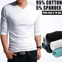 Men's Long Sleeve V Neck Tight T Shirt