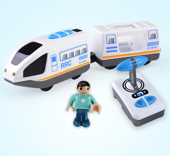 Remote control electric locomotive Scene rail car for wooden track magnetic CHR RRC Express truck NIB