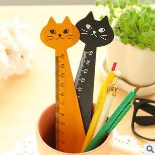 2pc/lot Zakka ,Cat Design Wooden Rulers, 15cm Ruler, Kawaii Stationery /cute Cartoon Ruler /School&office Supplier