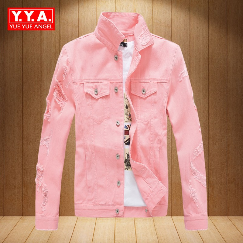 Denim Jackets Men Autumn Hot Sale New Brands Slim Motorcycle Casual Hole Ripped Coat Punk Style Long Sleeve Pink Jaqueta Hombre