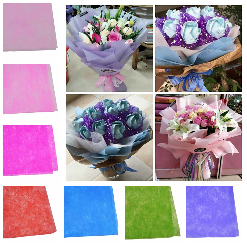10pcs/lot 50*50cm Decorative Crepe Paper Wrapping Flower Bouquets Gift Packing Wedding Event Party Handmade Diy Craft Decoration