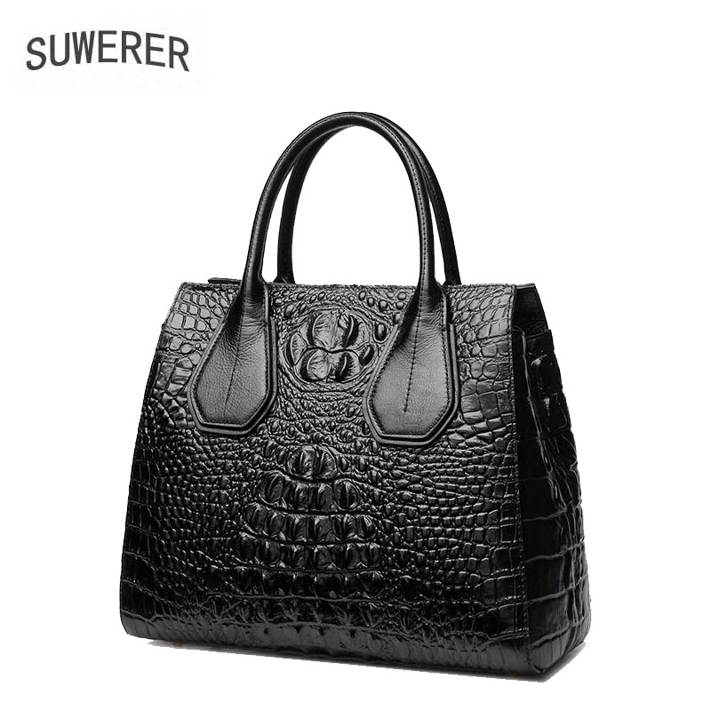 SUWERER 2019 New women genuine leather bag famous brands Luxury fashion cowhide handbags tote women leather shoulder bags