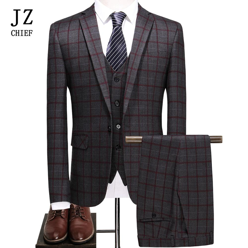 Fashion Wedding Suits For Men 3 Pcs Blazer And Jacket Pants Plaid Casual Business Suits Vest Trousers Two Button Suit Jackets