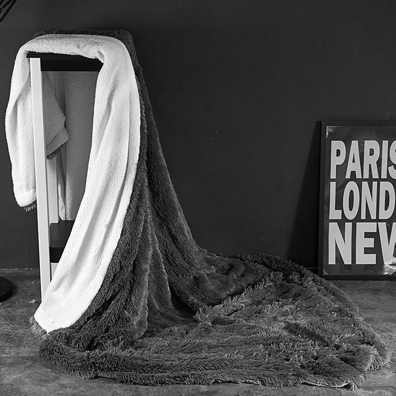 Gray Fleece Fur Throw Blanket Full Queen King size Kids Adults Bed cover set Velvet Bed Sheet Bedspread  jete de lit