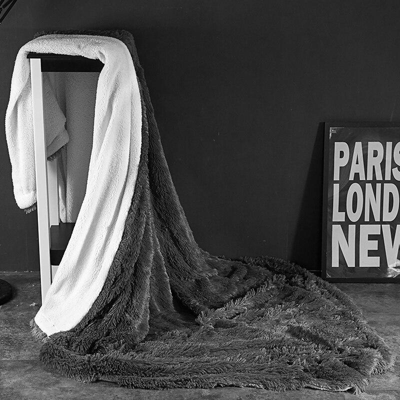 Gris polaire fourrure jeter couverture pleine reine roi taille enfants adultes lit couverture ensemble velours drap de lit couvre-lit jete de lit