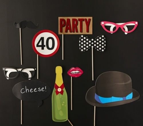 Photo Booth Props For 40th Birthday Party Pack Of Paper Masks Beard Glasses Hat Photobooth