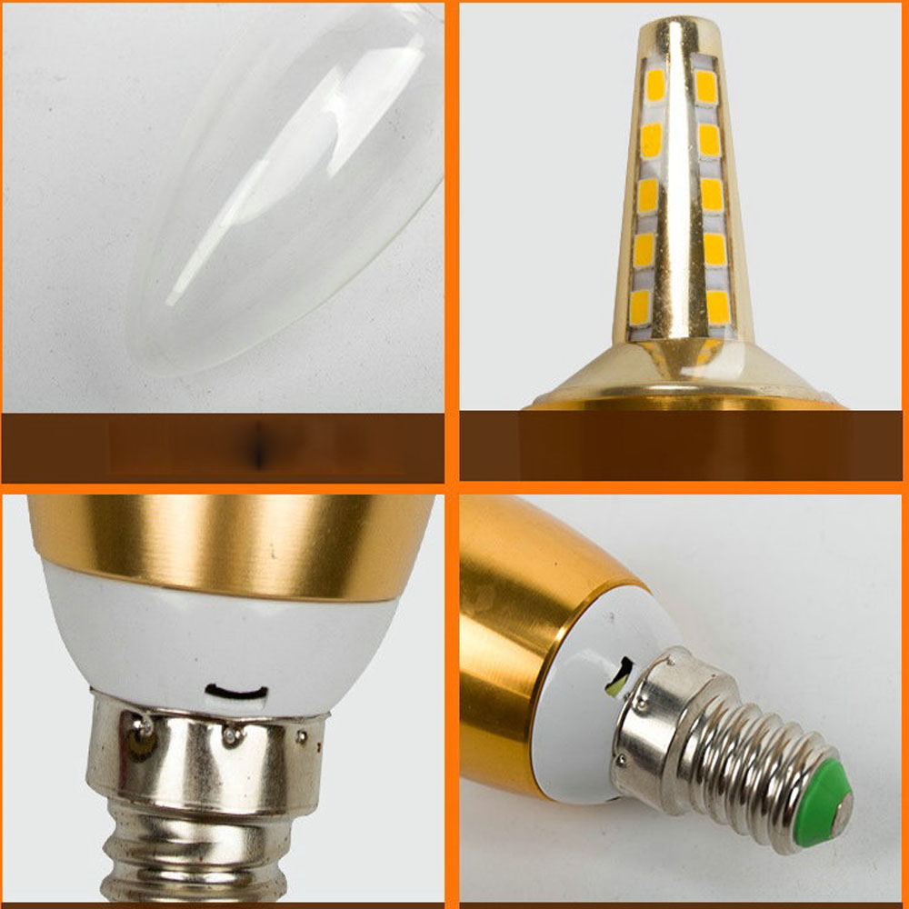 HGhomeart 110V-220V 5W Led Candle Bulb E27 E14 Led Bulb Lamp Light-emitting Diode LED Light Bulbs for Crystal Chandelier Lamps