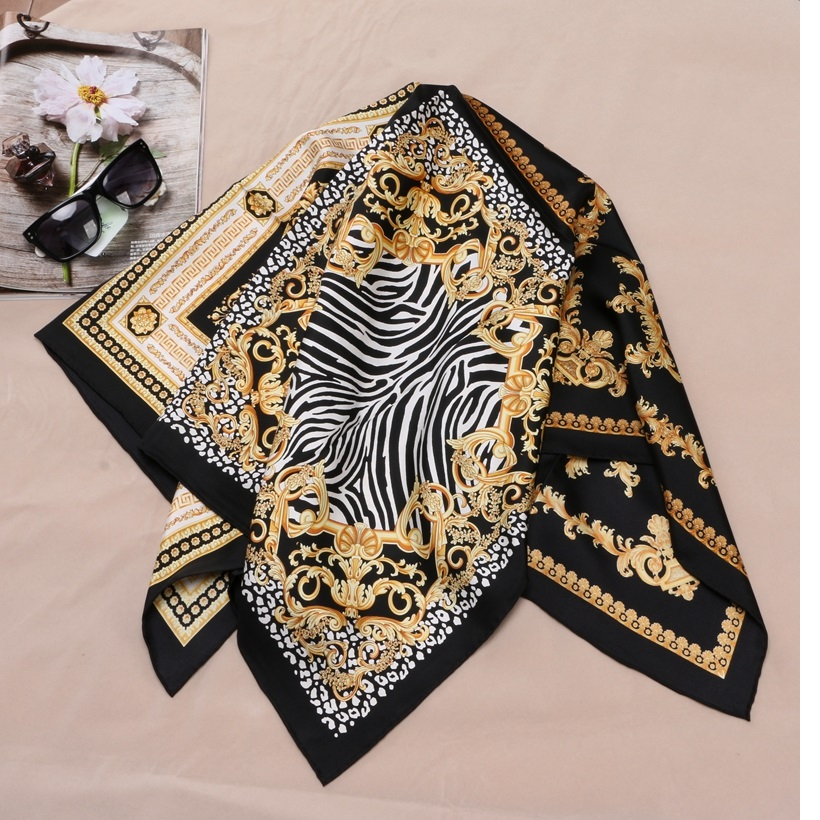 Image 2 - Fashion Prints 100% Silk Scarf Shawl Womens High Quality Hijab Head Scarves 88X88CM-in Women's Scarves from Apparel Accessories