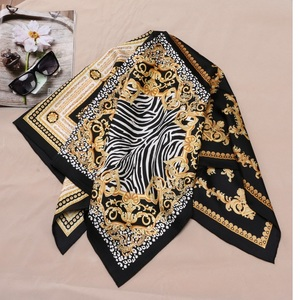 Image 4 - Fashion Prints 100% Silk Scarf Shawl Womens High Quality Hijab Head Scarves 88X88CM