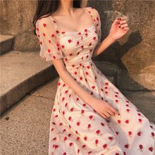 Very fairy summer new embroidered strawberry mesh dress female temperament high