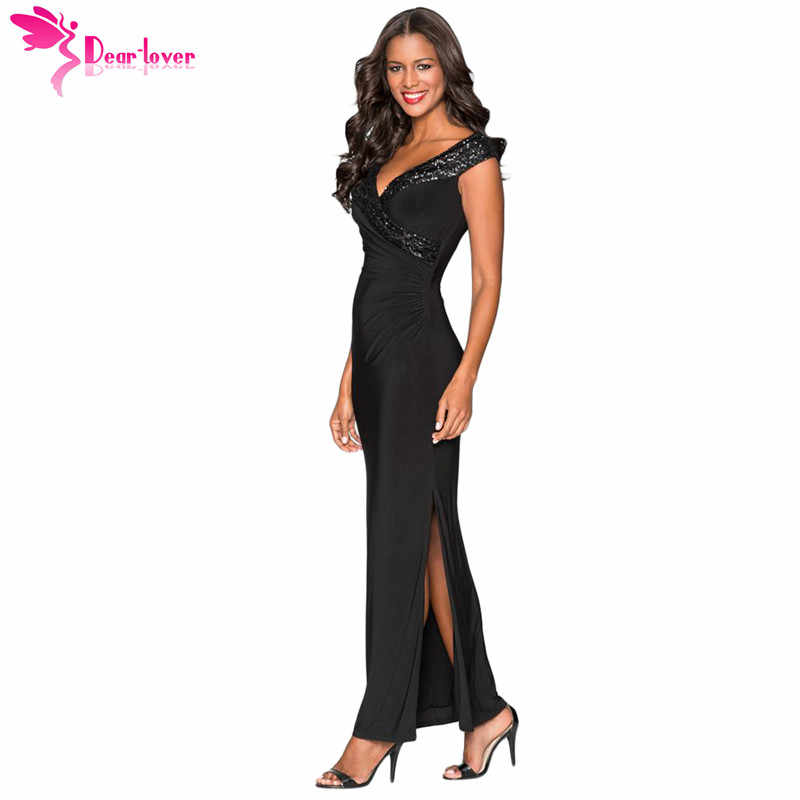 31ee4254ac Dear Lover Sexy Party Gowns for Women Black Red Sequin Wrap V Neckline Slit  Maxi Dress Summer Vestido Longo Robe Femme LC610264