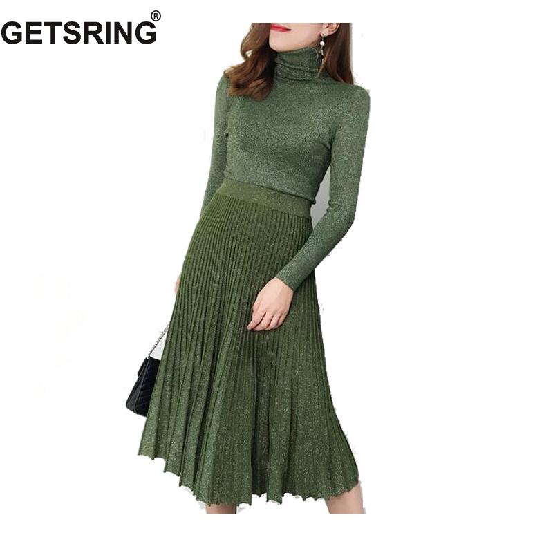 GETSRING Womens Skirt Set Winter Vintage Long Sleeve Knitted Sweater Set Pullover High Waisted Pleated Skirts Long Two Piece Set