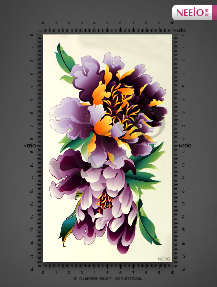 temporary tattoo purple flower peony back leg scar tattoo stickers waterproof women large body art designs high quality