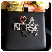 """Love A Nurse"" Rhinestone Letters & Heart Womens Brooch"