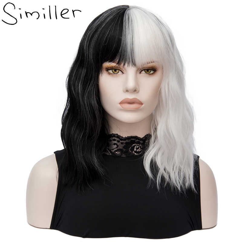 Similler Short Wigs for Halloween Cosplay Women Kinky Straight Synthetic Hair Wig Black White 2 Tones Patchwork