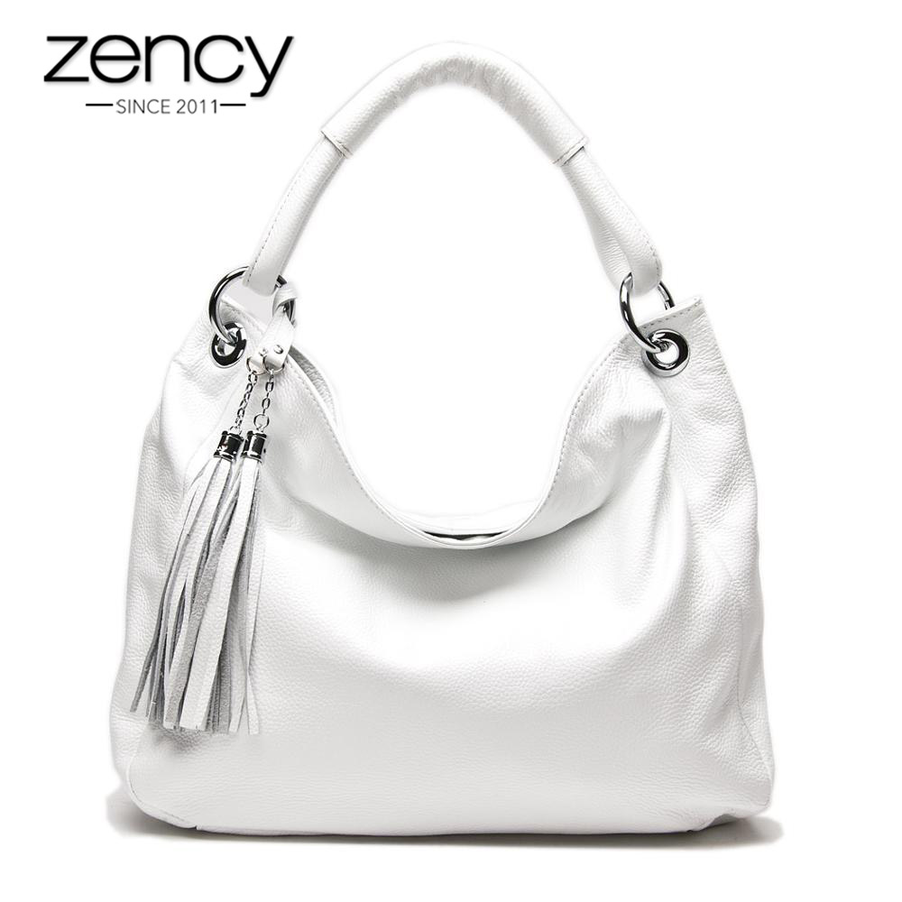 Zency 100 Soft Genuine Leather Tassel Women s Handbag Black White Ladies Shoulder Bags Messenger Satchel