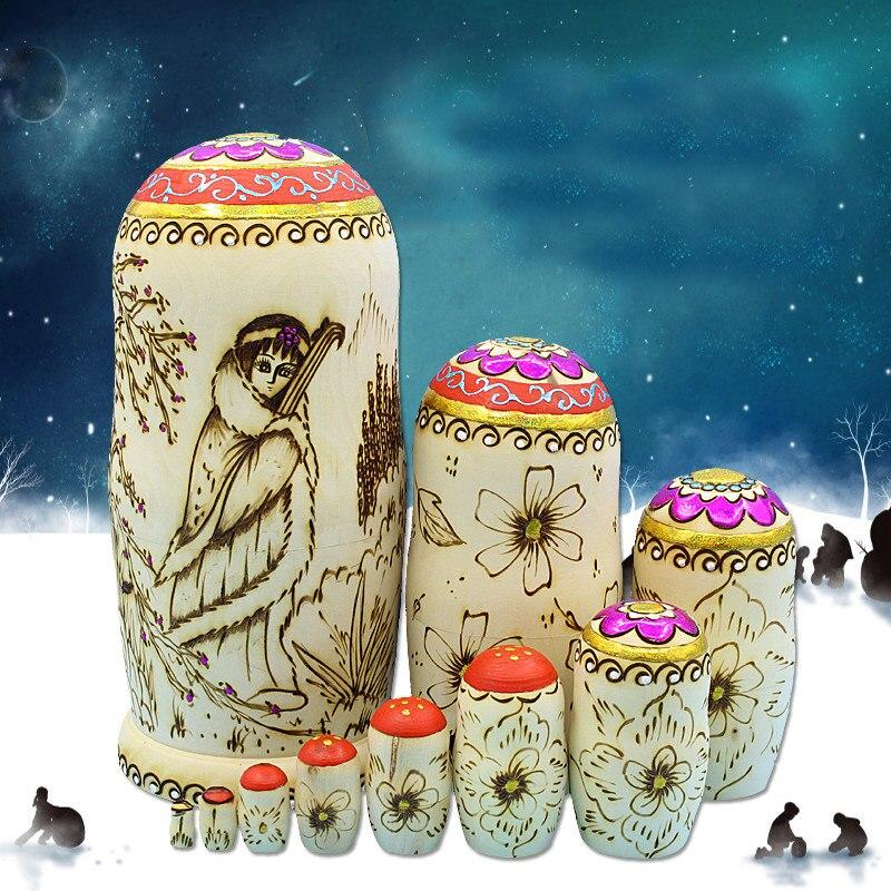Mode grand 10 couches sculpté artisanat russe poupées sec tilleul nid Matryoshka poupée fait à la main en bois poupées ethniques L30 - 3
