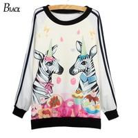 2015 autumn thin Fashion Hoodies Sweatshirts women cute zebra print harajuku hoody girl Women tracksuit women moleton feminino