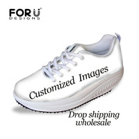 FORUDESIGNS Customized with Own Logo Printing Women Vulcanize Shoes Platform Swing Shoes Wedge Sneakers Height Increasing Shoes