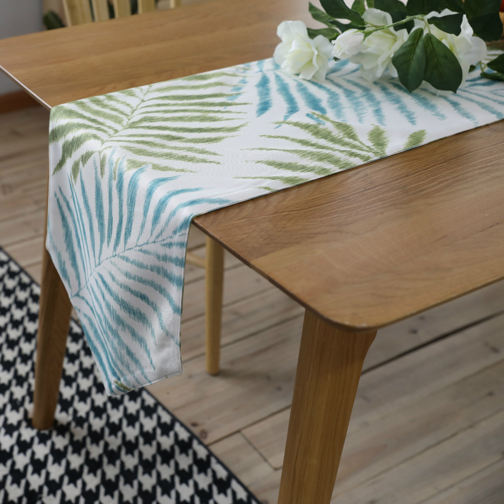 WLIARLEO Green Leaves Table Runner Double Sided Use Luxury table runners for Home,Wedding Placemat chemin de table mariage