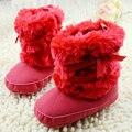 Newborn Baby Girls Bowknot Zapatos Zapatos del Pesebre Infant Toddler Suave Polar Caliente Primeros Caminante del bebé niñas zapatos de Invierno