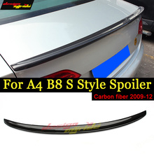 For Audi A4 A4a A4Q B8 Rear Spoiler S-Style High-quality Carbon Fiber Trunk Wing Lip car styling Auto Part 2009-12