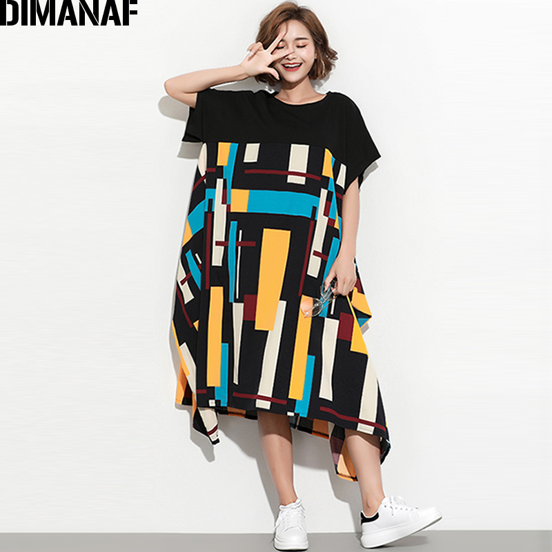 DIMANAF Women Summer Dress Plus Size Sundress Clothing Female Lady Large Big Vestidos Print Spliced Casual Oversized Loose Black