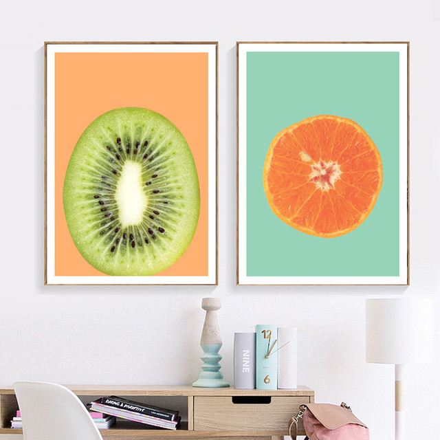Kiwi Avocado Orange Fruit Wall Art 1