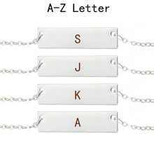 26 Letters Choker Necklace Alphabet Initial Letter Pendant Bar Fashion Men Women Silver Chain
