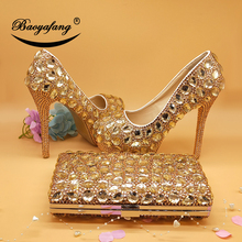цены Champagne crystal women Wedding shoes with matching bags Luxury Rhinestone high heels platform shoes women party dress shoes