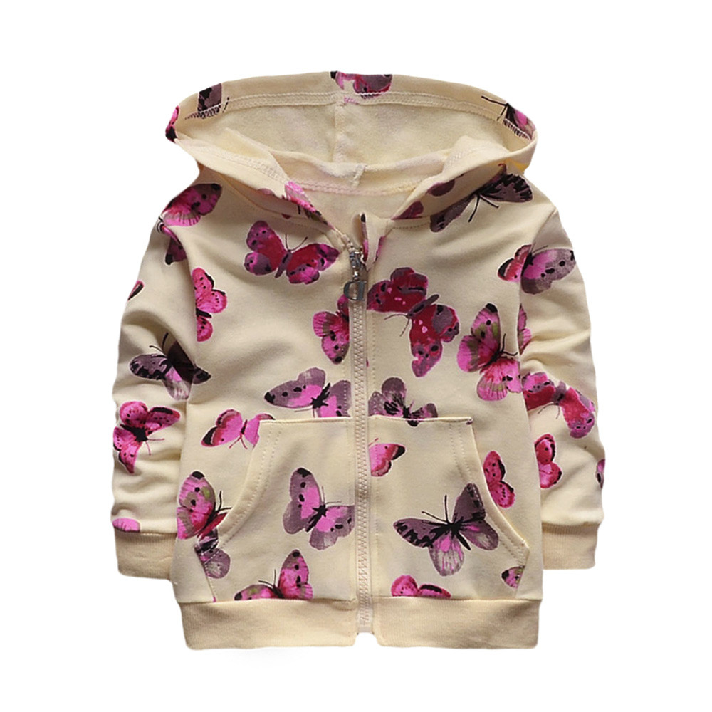 Infant Toddler Baby Girls Jacket Autumn Butterfly Print Hoodie Tops Casual Clothes Coat Baby girls clothes drop ship
