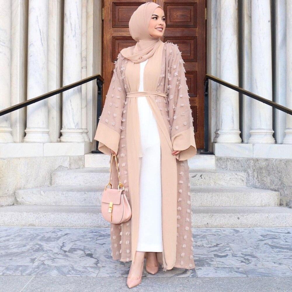 Elegant Muslim Abaya Floral Maxi Dress Cardigan FLowers Skirt Appliques Long Robes Tunic Middle East Ramadan Islamic Clothing