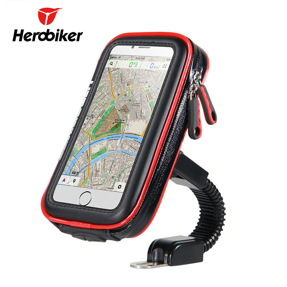 HEROBIKER Motorcycle Phone Holder Support Waterproof Moto Mobile Phone Stand Case Bags for For iPhone X 8 7 6 6s Plus SamSung