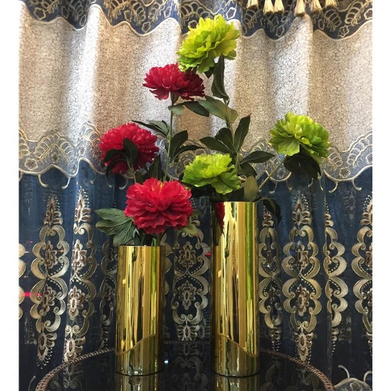 gold vase living room flower arrangement metal plating flower (4)