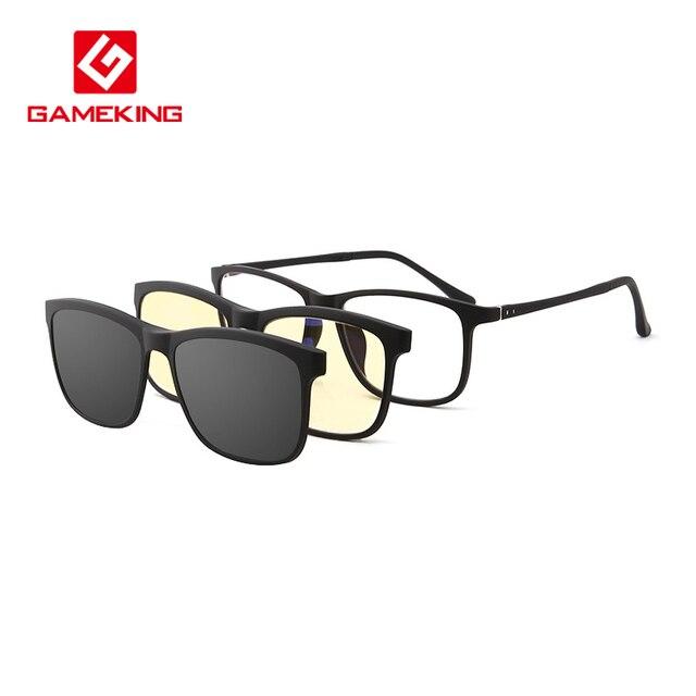 d2a041d4ea3 Gameking Glasses Set Light 2 +1 Polarized Sunglasses Clip-on Prescription  Rx Eyeglasses Frames Blue Light Blocking Flip up Lens