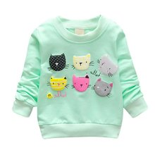 Cartoon Cat Print Girls Sweatshirts Spring Casual Kids Clothes Long Sleeve Baby Girl Pullover Girls Clothing