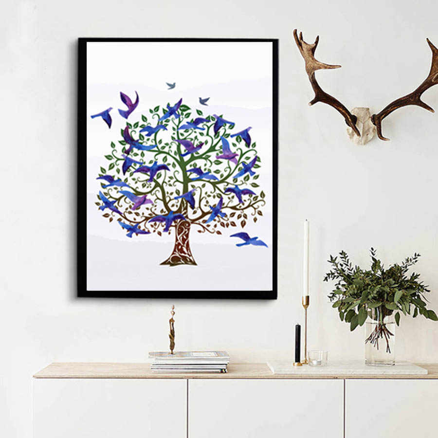 Landscap Blue Birds Tree Wall Painting For Living Room Modern Poster&Prints Canvas Picture For Bedroom Home Decor Wall Art Mural
