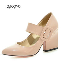 цены 2019 High Heels Shoes Women Mary Janes Shoes Thick High Heel Pumps Autumn Fall Footwear Red Black White Apricot Big Size 34-43