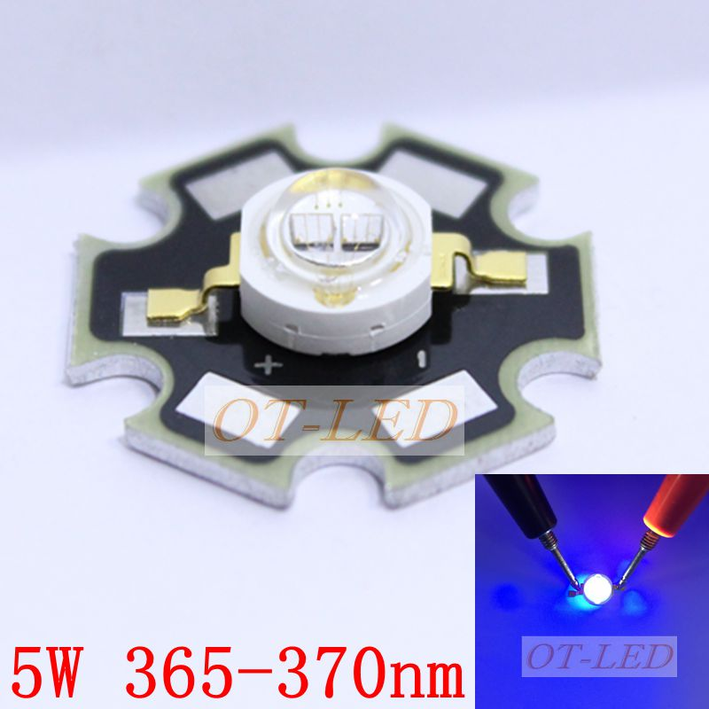 5pcs/lot 5W UV LED Diode 395NM Ultraviolet Plum LED chip 400NM ...