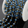 5Meter Gold Plated Wire Wrapped Brass Dark Blue Glass Bead Rosary Chain,Blue Jade Crystal Quartz Faceted Rondelle Chain Necklace