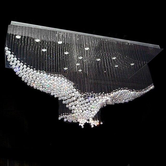 Neue Adler Design Large Zeitgenössische Kronleuchter Kristall Beleuchtung,  Glanz Hotellobby Licht