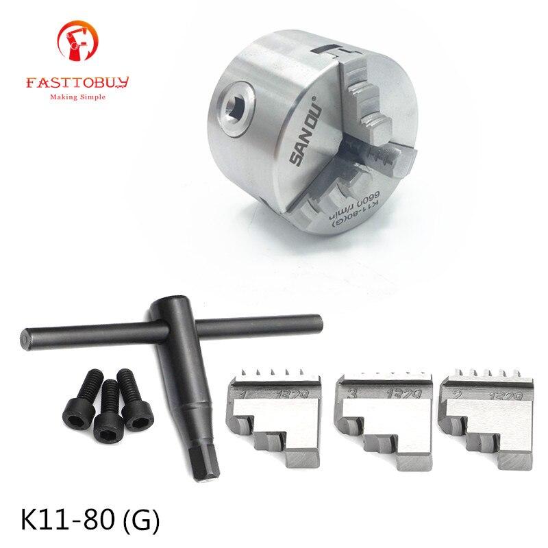 6600 RPM 3 pulgadas 3 mandíbula 80mm torno mandril autocentrante K11-80 (G) con llave y tornillos acero endurecido para fresadora de perforación