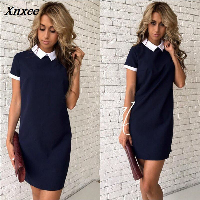 2018 New Women office work white collar OL shirt dress Summer Short sleeve Party Navy blue Pink Straight dress Mini Vestidos in Dresses from Women 39 s Clothing