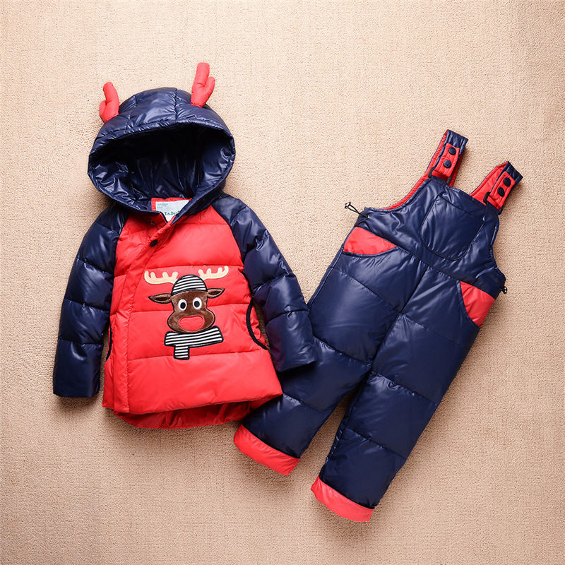 2017 New Baby Down Coat Set Winter Warm Thick Cartoon Down Jacket Set Fashion Outerwear For Boys Girls Kids Clothes Set new baby set 2015 winter baby girl clothes cartoon coat thick warm coat pants warm winter outerwear jacket clothing sets